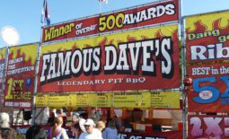 Famous Dave's BBQ booth signage