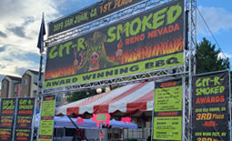 Git-R Smoked Award Winning BBQ booth and signage